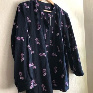 Madewell long-sleeved navy blue floral blouse,sz L